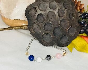 Healing | protection | love | spiritual | natural gemstone bracelet | hematite | rose quartz | howlite | lapis lazuli