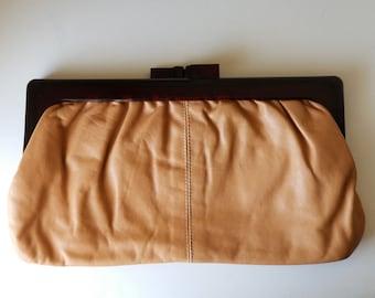 Soft leather vintage clutch