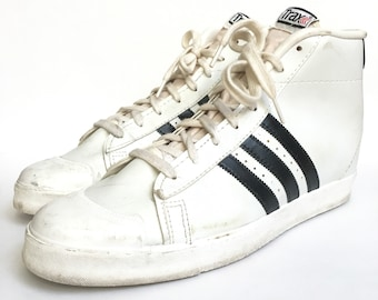 Vintage 70s 80s Trax High Top Black and White 3 Stripe Basketball Sneakers - Size 12
