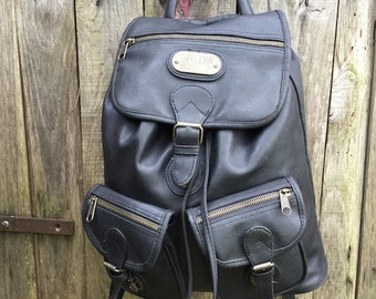 Vintage Backpack/ 90s/ eco leather/ black color/ three pockets/ lined/ internal zip/ Made in Italy