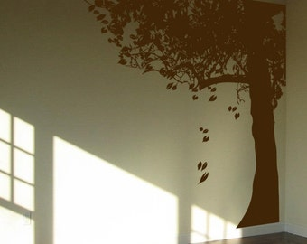 Giant Tree with falling leaves - Made for the Corner - Entire Wall - Wall Decals - Your Choice of Color