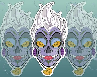 Ursula Sugar Skull 2x4 Vinyl Sticker