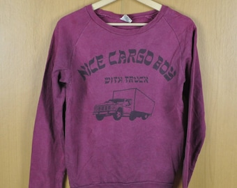 Vintage Sweater Nice Cargo Boy With Truck Screen Print Sweatshirt Care On Reverse Side Nice Shirt