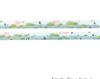 Pink Water Lily Washi Tape - 15mm x 7m - Lily Pad Pond Water Garden - Papercraft Supply Planners Decoration