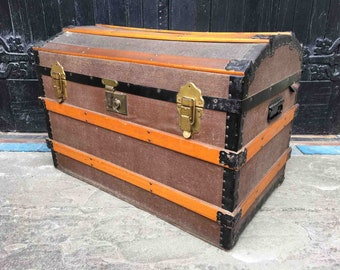 Vintage Wooden Bound Domed Top Steamer Trunk Pirates Chest