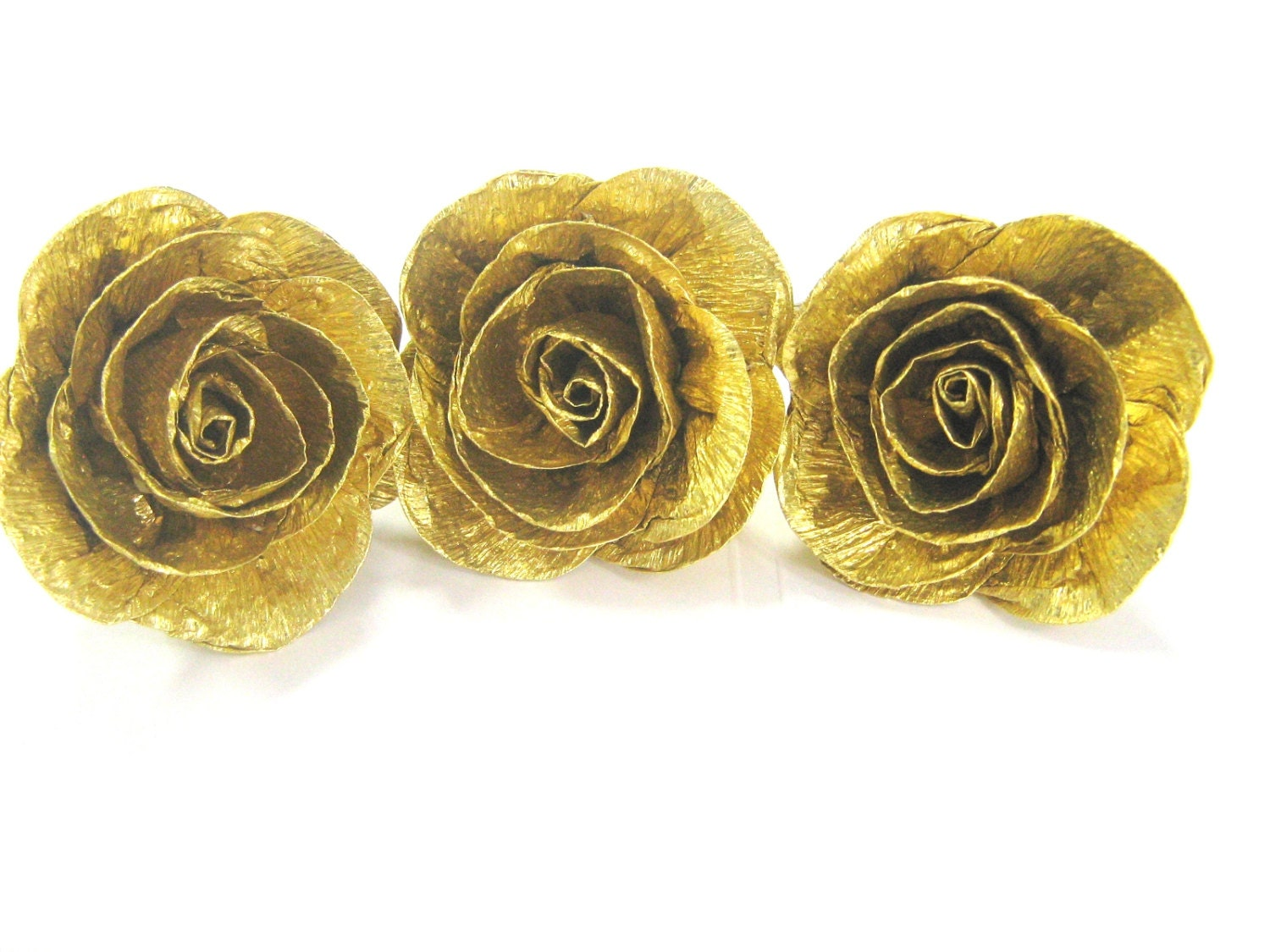 12 Gold crepe paper flowers wall decor photo bakdrop roses