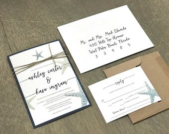 Rustic Beach Wedding Invitation Set, Starfish Wedding Invitation, Navy Blue Wedding Invitation, Destination Wedding Invitation, Tropical Wed