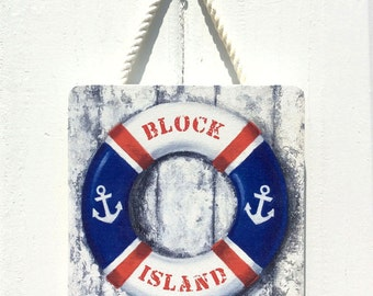 "Nautical Life preserver wood sign,""Block Island"" Rhode Island wall art, coastal New England, outdoor art"