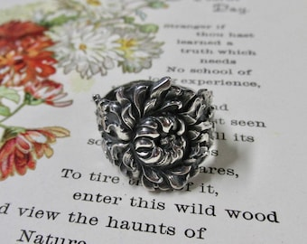 Chrysanthemum Spoon Ring November Birth Flower Sterling Silver Floral Ring Symbolic of Hope