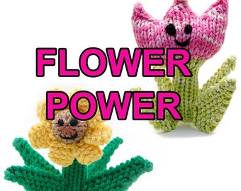 Flower Power Spring Tulip and Summer Daisy Amigurumi Plush Toy Knitting Pattern Instant Download PDF