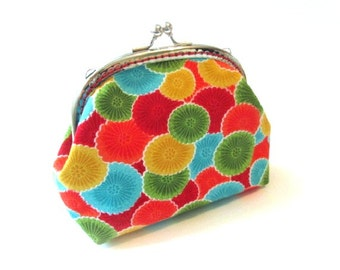 Metal frame purse with colorful cotton fabric, silver kiss lock clasp red blue green frame clutch bag, colorful frame pouch