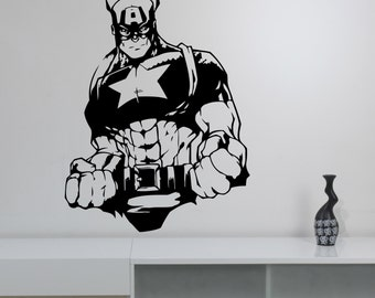 Captain America Wall Sticker Vinyl Decal Marvel Comics Superhero Decorations for Home Housewares Bedroom Teen Kids Boys Room Decor cpa5