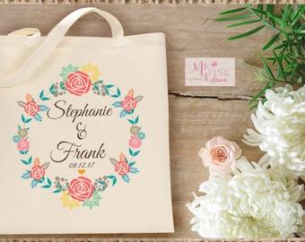 Custom Wedding  Tote Bag  Flower Wreath- Bridal Party Totes, Bachelorette Tote bags, Bachelorette gift, favor bags