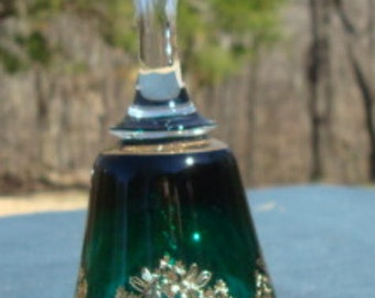Vintage Crystal Bell Green Clear Handle Gold Trim Collectible Bell Glass Bell Home Decor Vintage Crystal Bell Vintage Glass Bell