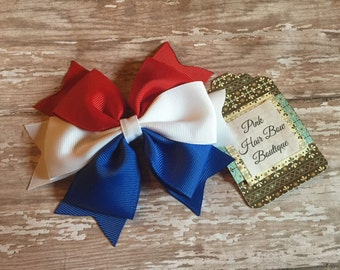 4th of July Red White and Blue Hair Bow