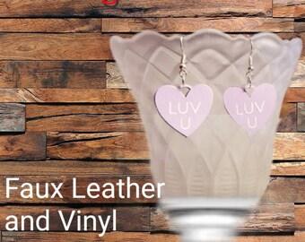 Faux Leather Conversation Heart Earrings