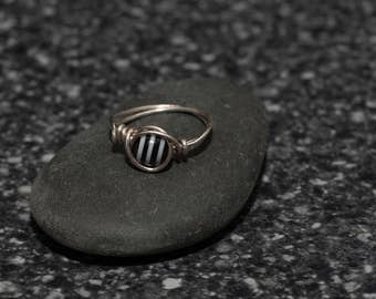 Black and White Striped Ring