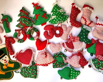 Vintage Cloth Christmas Ornament Collection, Set of 24