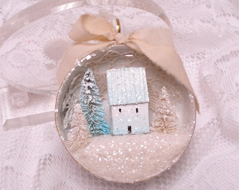 Shabby Chic Pastel Blue White Tea Cup Ornament Putz House