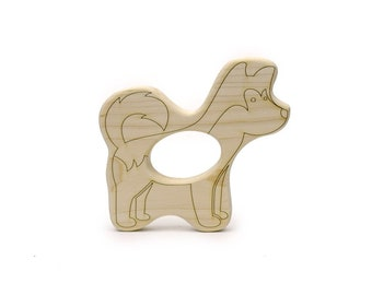 Dog Teether - Wooden Teether - Baby Gift - Wolf Toy - Animal - Puppy