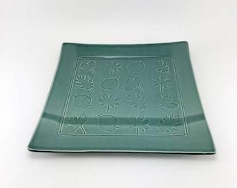 Serving Platter, Ceramic Platter, Teal Pottery, Stoneware Platter, Handmade Pottery Tableware