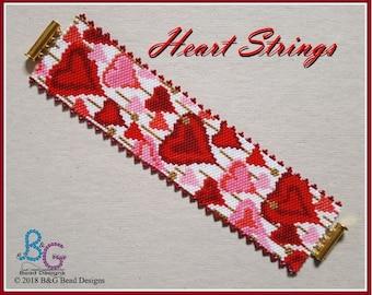 HEART STRINGS Peyote Bracelet Cuff Pattern