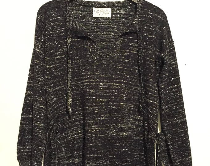 Lurex Side Slit Sweater