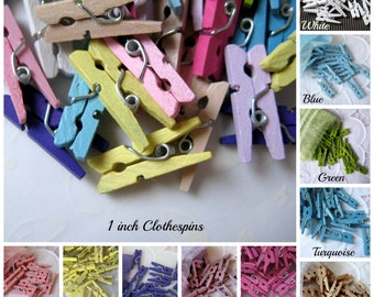 1 inch MINI Assorted Color Wooden Clothespins for Wedding Favors, Scrapbooking, Party Favors, Embellishment, Gift Tags, 50 pcs