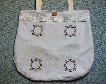 Bag, handbag, shoulder bag, shopper, embroidery, tote bag, roses,