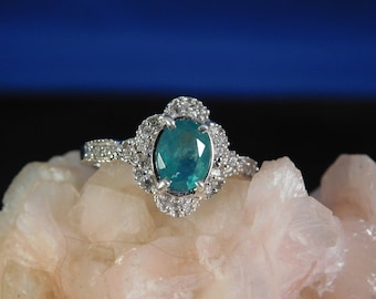 Classy .98 Ct. Oval Columbian Emerald and WhiteZircon Ring Sterling Silver