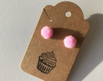 Light Pink Pom Pom Earrings