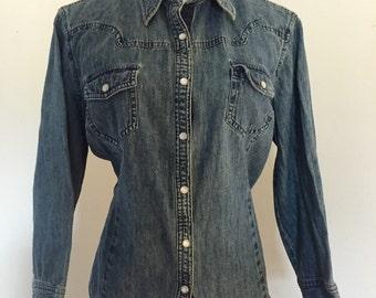 Van Heusen Denim Blue Jean Shirt Blouse Vintage