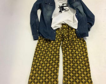 Handmade Wide Legged cotton knit Plaid Argyle Pants XL OOAK