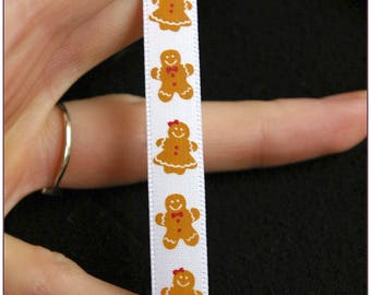 White satin ribbon 1 metre gingerbread man Christmas