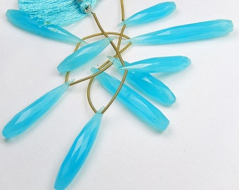 Chalcedony Gemstone, Semi Precious Gemstone Bead. Blue Faceted Long Drop  28-52mm. Sold Individually or Pairs  (0ch1).
