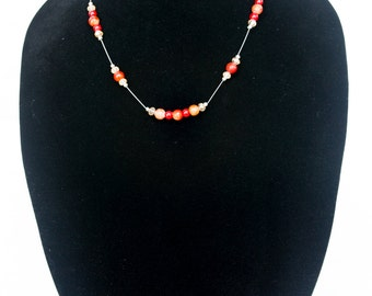 Red and Orange Floating Necklace