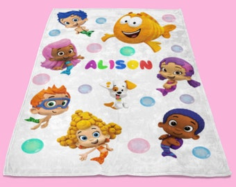 Bubble Guppies Blanket, Personalized Blanket, Custom Blanket, Custom Kids Blanket, Custom Baby Shower Gift