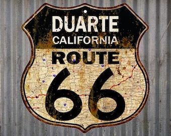 Duarte, California Route 66 Vintage Look Rustic 12X12 Metal Shield Sign S122088