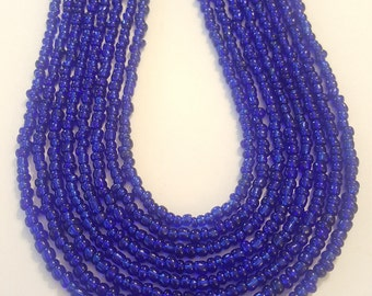 Royal blue seed bead necklace in your choice of lengths - blue seed bead necklace - seed bead necklace - necklace - blue necklace