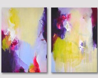 2 delen oorspronkelijke abstract schilderen op uitgerekte doeken, moderne kunst, Acryl schilderij, felle kleuren, groen-geel paars roze schilderijen