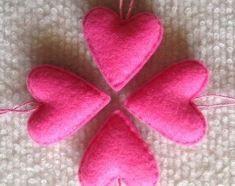 Candy pink felt heart ornaments set of four, Valentines Day, Wedding favor