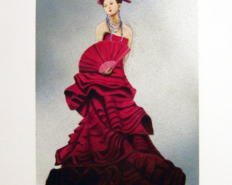 """Original Woman in a Red Dress Painting by Sunshadeau Arts 12x16"""" on watercolor paper"""