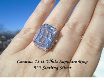 13 ct White Sapphire Ring