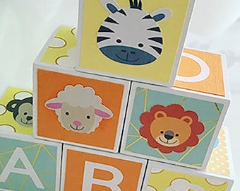 Custom Baby ABC Blocks | Baby Shower Gift | Nursery Decor | Baby Girl Gift | Newborn Gift | Alphabet Blocks