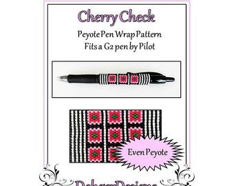 Bead Pattern Peyote(Pen Wrap/Cover)-Cherry Check