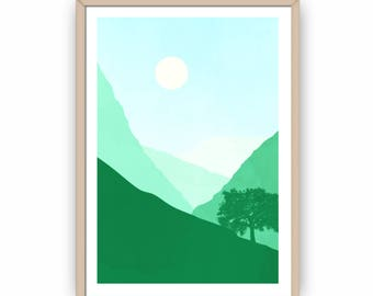 Landscape Wall Art, Rolling Green Hills  Scene Minimalist Art Print, Living Room Decor, Home Decor, Modern Art, Abstract Landscape