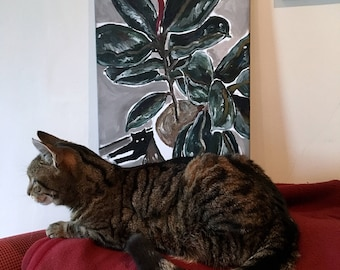 Cat and Rubber Plant Original Painting