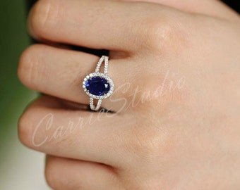 Sapphire Ring Sapphire  Engagement Ring/ Wedding Ring 925 Sterling Silver Ring Anniversary Ring Promise Ring