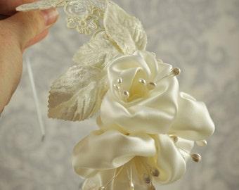 Flower Fascinator - Bridal hair Fascinator silk flowers and lace wedding headband - 109HB