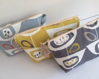 John Lewis 1950's Seedbeds cotton print make up bag purse - Retro Blue Grey Mustard